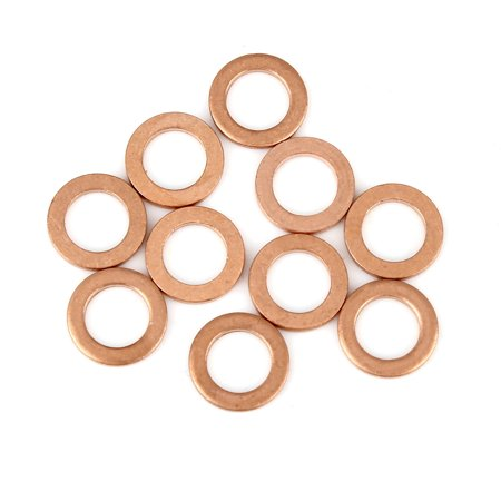 Copper Crush Washer Flat Sealing Gasket Ring Spacer for Car 8 x 12 x 1.5mm 10pcs