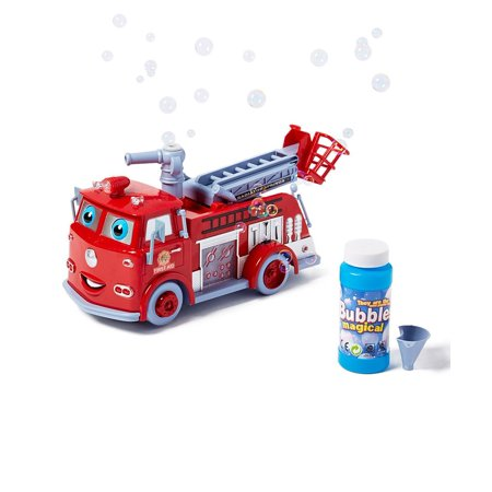 Dash Fire Truck Bubble Blowing Bump & Go Battery Operated Toy Truck w/ Extending Crane, Lights & - Fire Truck Toy