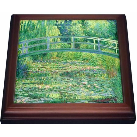 3dRose Famous Monets Water Lillies With Lavender Frame, Trivet with Ceramic Tile, 8 by (Trivet Framed Tile)