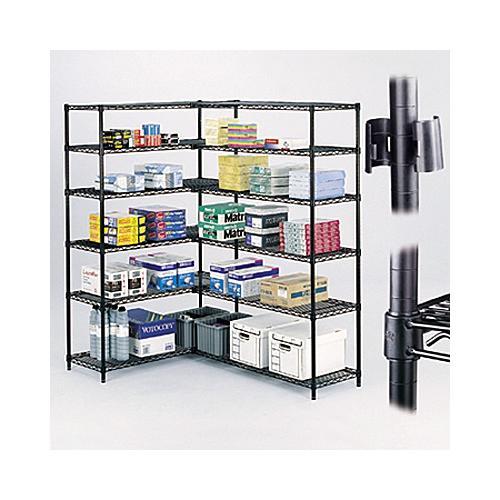 Safco Wire Shelving Industrial 4-Shelf Add-On Unit SAF5292BL