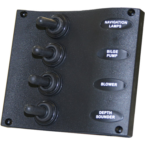 SeaSense 4 Gang Toggle Switch Panel, Wave Design