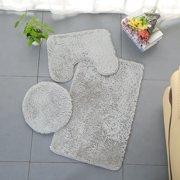 snorda 3pc Bathroom Set Rug Contour Mat Toilet Lid Cover Plain Solid Color Bathmats