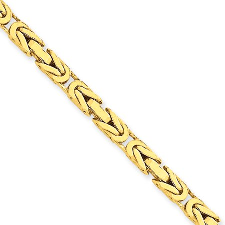 14k Yellow Gold 30in 4mm Byzantine Necklace Chain