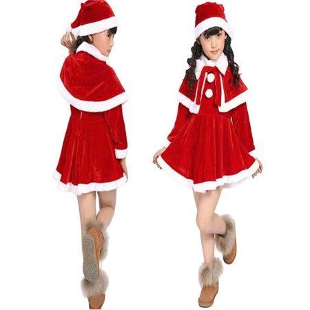 Mosunx Toddler Kids Baby Girls Christmas Clothes Costume Party Dresses+Shawl+Hat Outfit