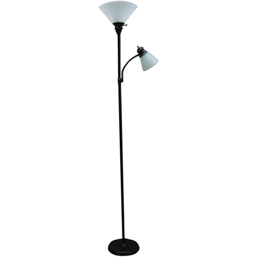 mainstays oilrubbed bronze combo floor lamp with reading light image 1 of 4 - Silver Floor Lamp