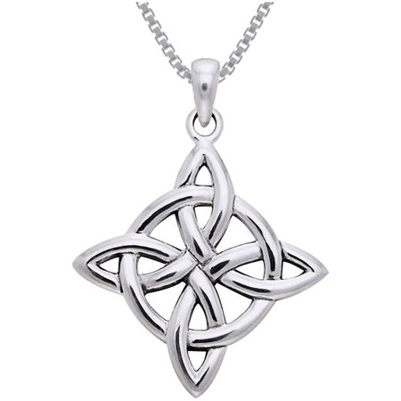 Sterling Silver Celtic Good Luck Knot Pendant on 18 Inch Box Chain Necklace