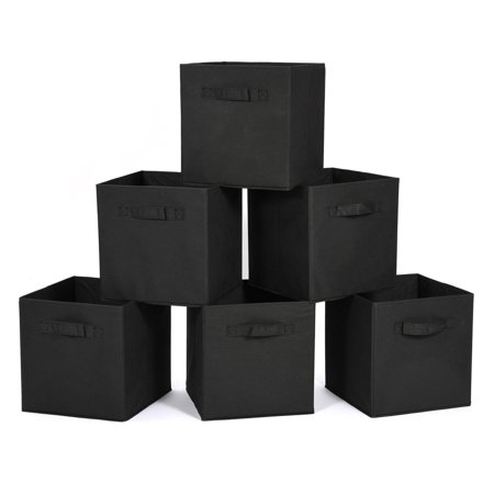 (EECOO 6 Pcs Storage Bins, Storage Box Household Organizer Fabric Cube Bin Basket Container Drawer (Black))