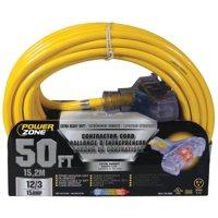 Powerzone ORP611830 SJTOW Pro Triple Tap Extension Cord, 12/3, 50 ft
