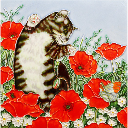 En Vogue B-307 Dancing Cat in Poppies Field - Decorative Ceramic Art Tile - 8 inch x 8 inch