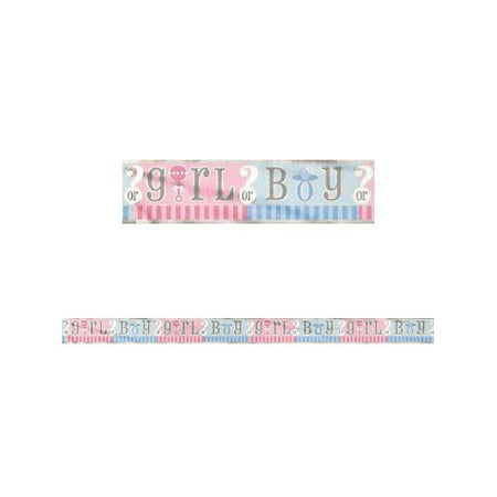 Hawaiian Party Personalized Banner - Foil Gender Reveal Party Banner, 12 ft, 1ct