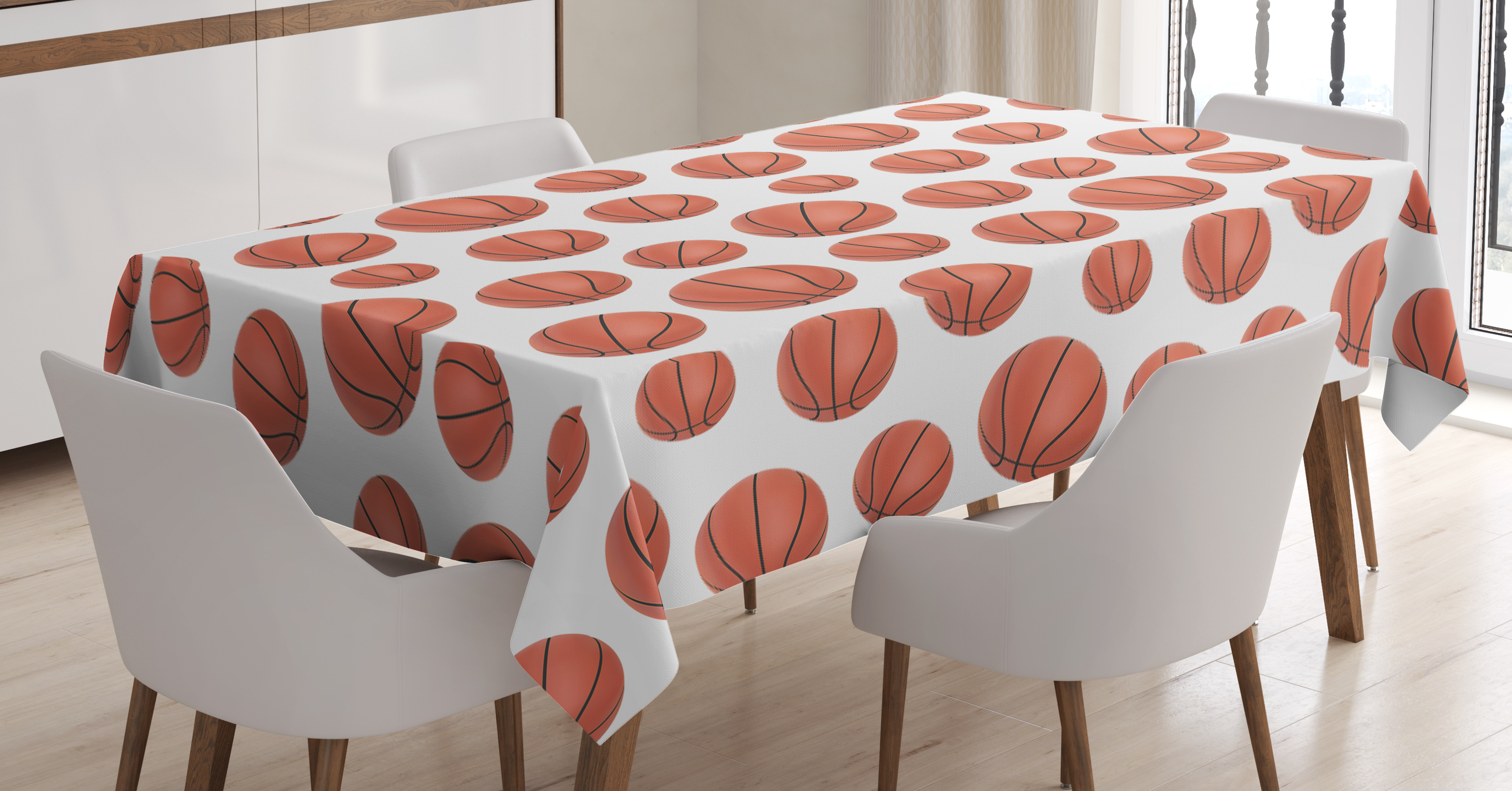 Basketball Tablecloth Realistic Style Balls Pattern On