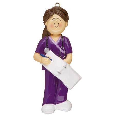 Female Scrubs Nurse Personalized Christmas Ornament DO-IT-YOURSELF - Personalized Baby Scrubs