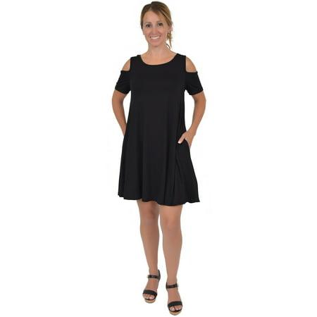 386fd807f644 Stretch Is Comfort - Women's Maggie Open Shoulder Short Sleeve Tank Dress -  Black / Large (8-10) - Walmart.com
