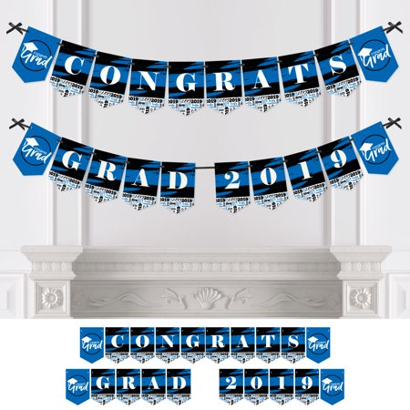 Blue Grad - Best is Yet to Come - Royal Blue Graduation Bunting Banner - Party Decorations - CONGRATS GRAD - Decorations For Graduation Party