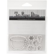 """Two Paper Divas Clear Stamps 6""""X4.5""""-Mug & More"""