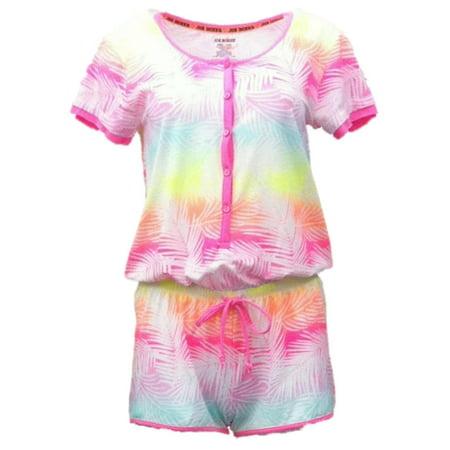 - Joe Boxer Womens Neon Tropical Print Henley Romper Jumper Pajama PJ