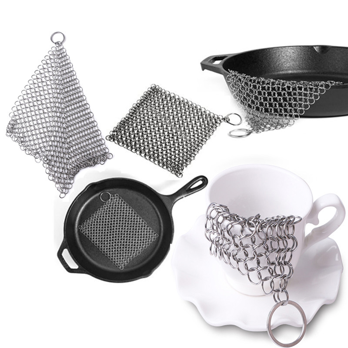 Smarit Cast Iron Cleaner XL 8x6 Premium Stainless Steel Chain mail Scrubber to Clean Cast Iron Skillet, Cookware, pan, wok and Griddle