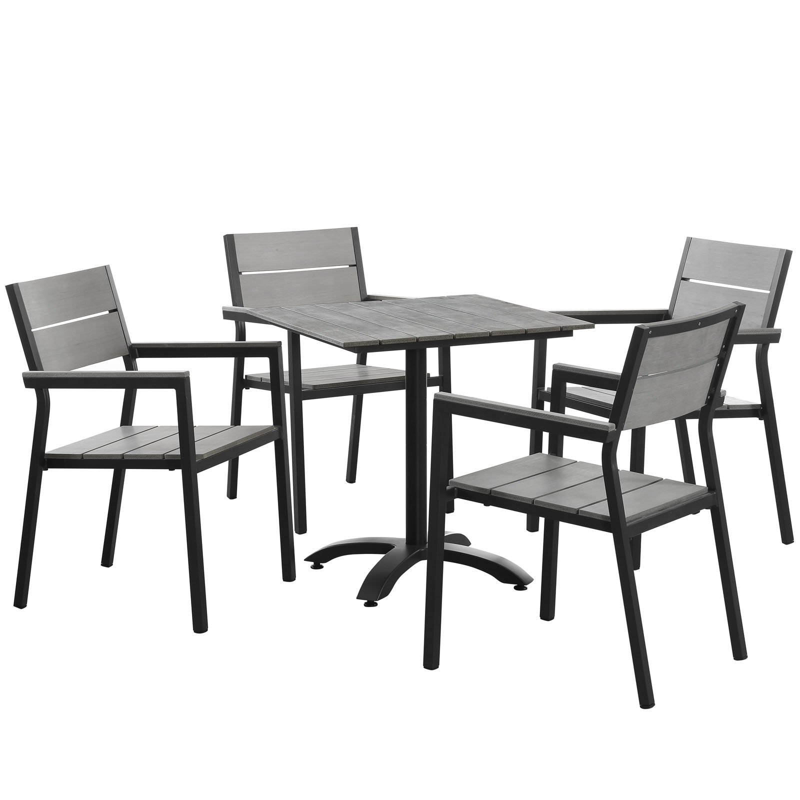 Modern Urban Contemporary 5 pcs Outdoor Patio Dining Room Set, Brown Grey Steel by