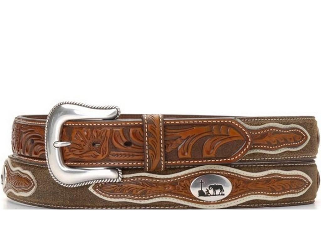 Nocona Western Belt Mens Cowboy Prayer Concho Dark Chocolate N2501208