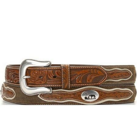 Nocona Western Belt Mens Cowboy Prayer Concho Dark Chocolate N2501208 - Cowboy Belt