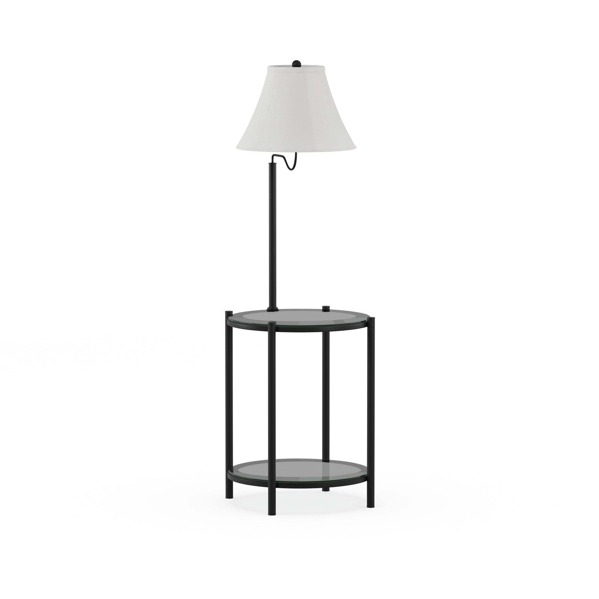 Mainstays Glass End Table Floor Lamp Matte Black Cfl Bulb Included Walmart Com Walmart Com