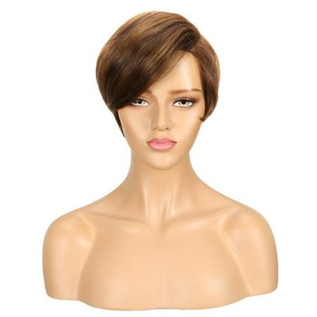 Remy Human Hair Wig - Noble Cute Short Bob Hairstyles Part Lace Human Hair Wigs For Women Bob Wig With Bang Remy Human Hair Wig Ombre Pixie Cut Wig