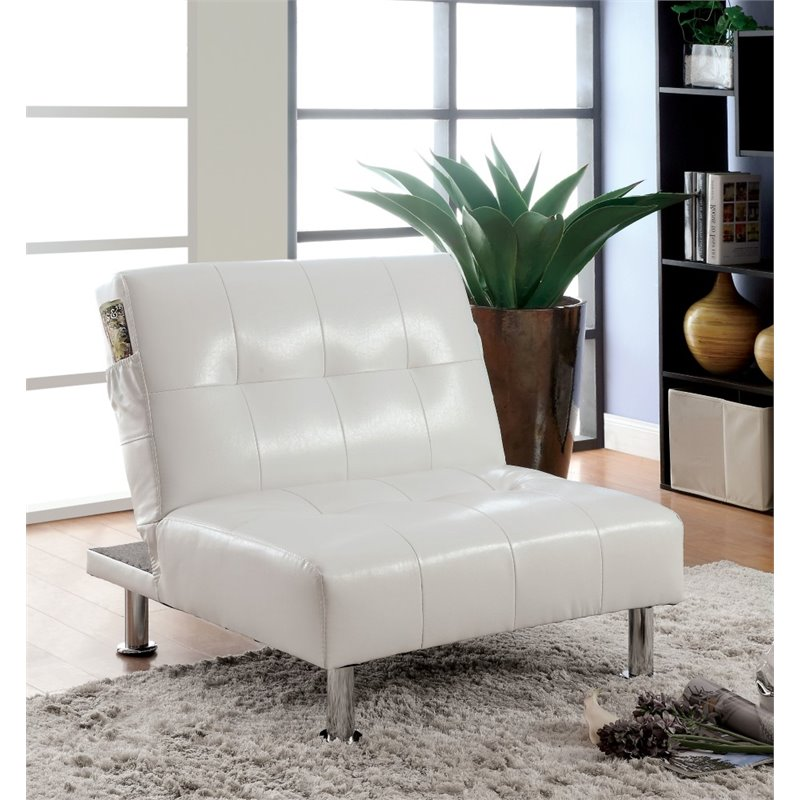 Furniture of America Hollie Faux Leather Accent Chair in White
