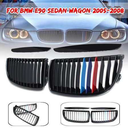 Front Kidney Bumper Gloss Black M-Color Hood Grille Grill For BMW E90 3Series 2005 2006 2007 2008 (Gloss Black Grille Grill)