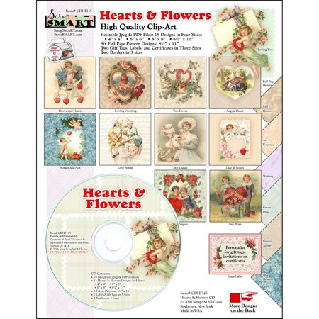 ScrapSMART Hearts and Flowers Clip-Art CD-ROM, Vintage Images for Scrapbook, Craft, Sewing