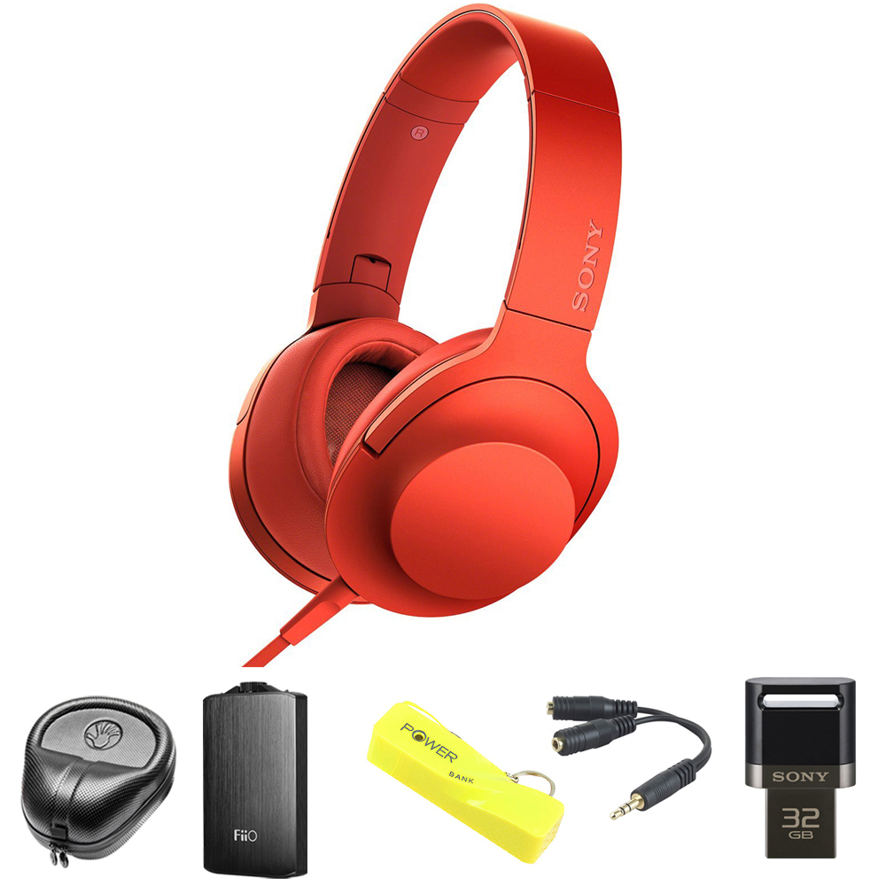 Sony MDR100AAP h.Ear on Premium Hi-Res On-Ear Stereo Headphones - Cinnabar Red (MDR100AAP/R) with HardBody Headphone Case, A3 Headphone Amp, 2600mAh Keychain Power Bank, Splitter & 32GB Flash Drive