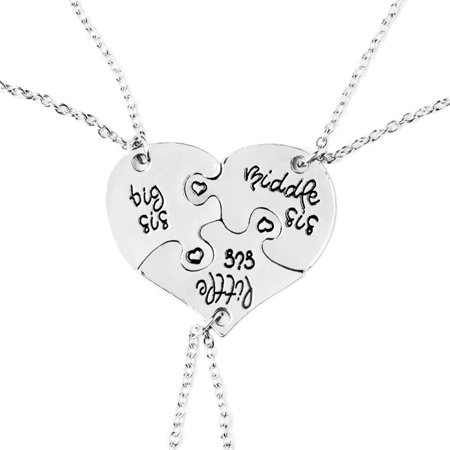 Fashion Necklace Heart Shape Pendant Good Sisters Three Petals Stitching Chain