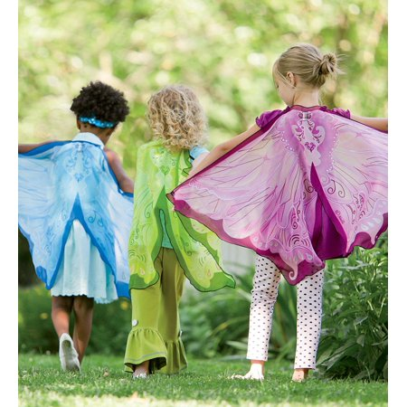 Fanciful Fabric Fairy Wings, in Green (Green Fairy Wings For Adults)