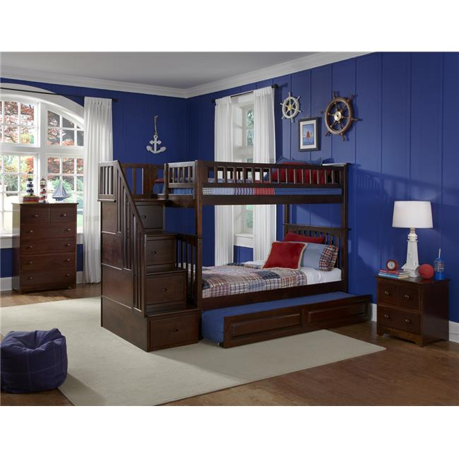 Columbia Staircase Bunkbed with Urban Trundle Bed - Antique Walnut, Twin Over Full Size