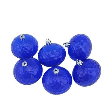 6ct Lavish Blue Transparent Shatterproof Hammered Disco Ball Christmas Ornaments 2.5