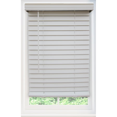 Custom Cordless 2 Inch Faux Wood Blind In White - Child Safe - Choose Your Width (Left to Right) and Length (Top to Bottom) This blind will be 40 Inch Wide x 59 Inch Long