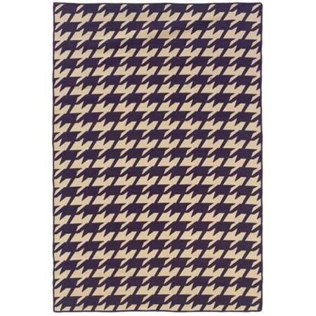 Riverbay Furniture 5 X 8 Hand Woven Houndstooth Wool Rug