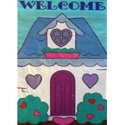 "Welcome Cottage Applique Garden Flag Hearts Embroidered Mini Banner 13"" x 18"""