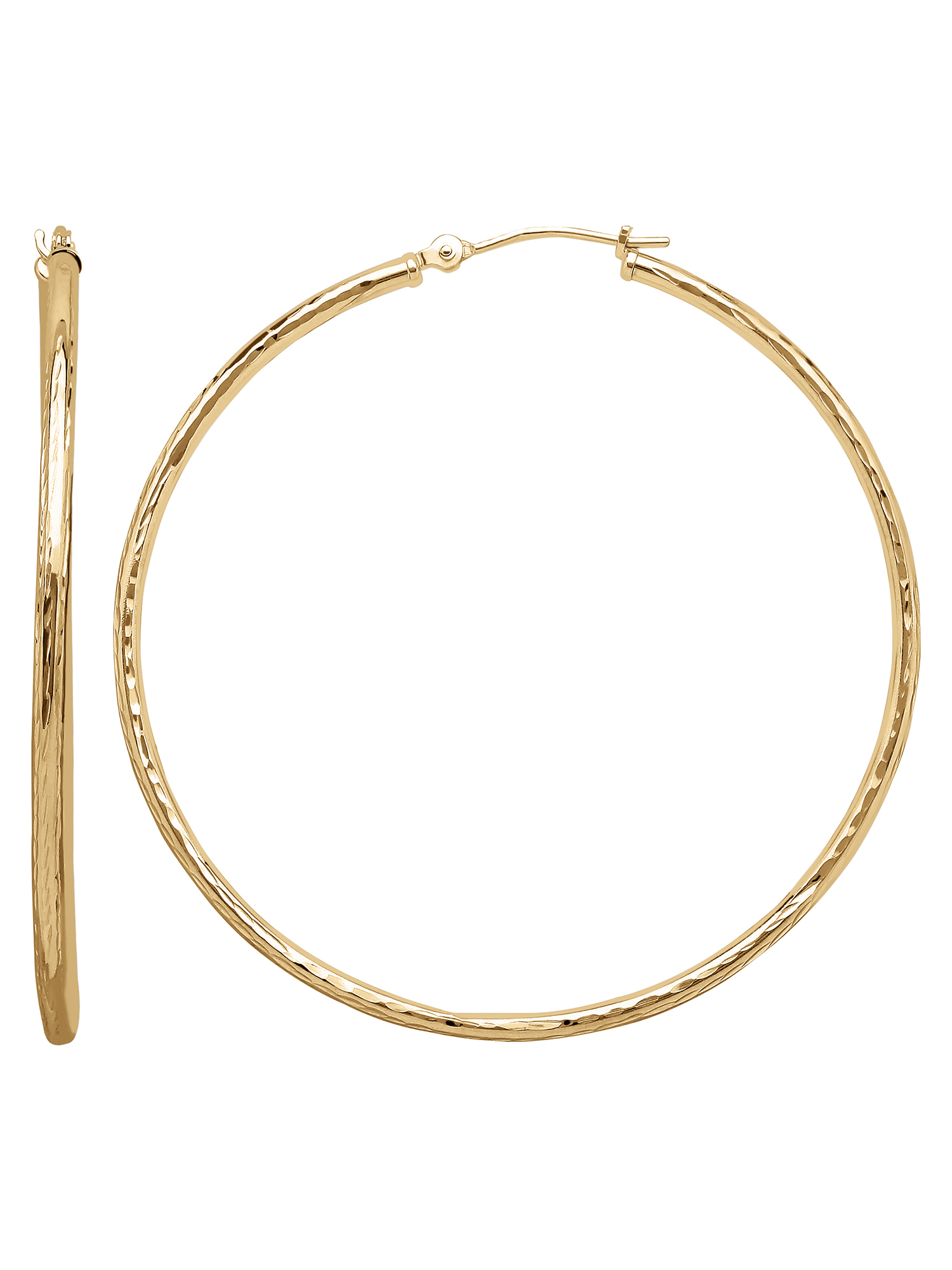 10K Yellow Gold 1.8x47mm Round Tube Hoop Earrings