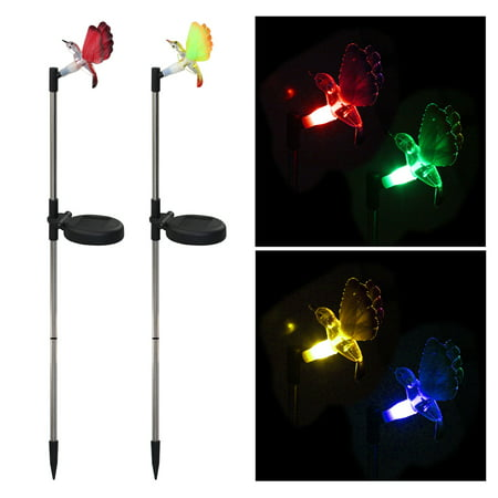2 Pack LED Solar Garden Stake Light Multi Color-Changing Butterfly Dragonfly Hummingbird Garden Decoration Figurines Lights Outdoor Landscape Lighting for Path, Yard, Lawn, - Solar Hummingbird Lights