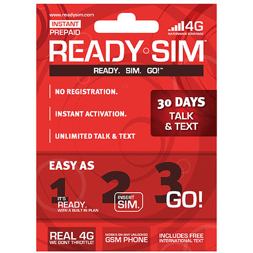 Ready SIM 30-Day Talk and Text Plan
