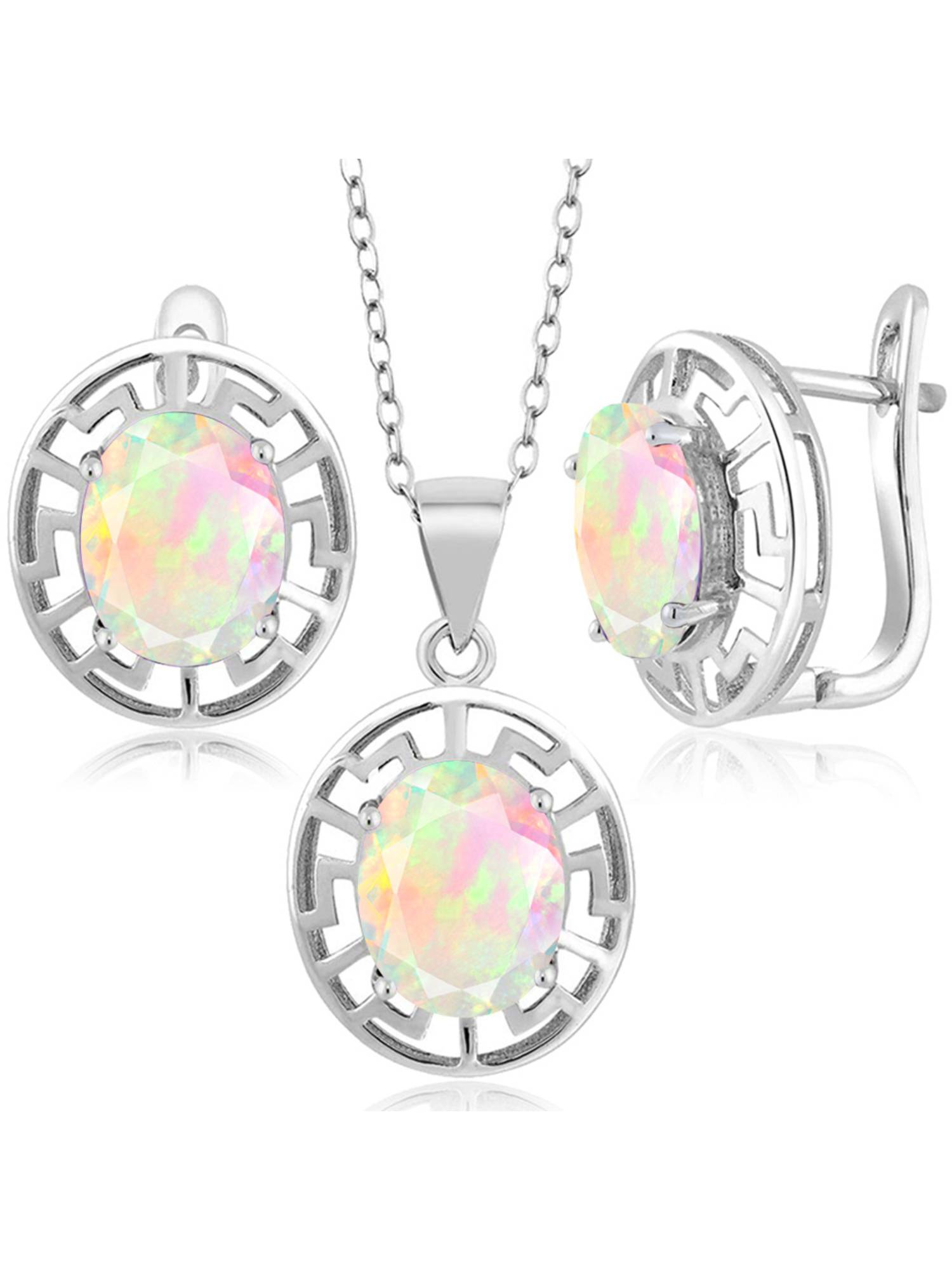 3.81 Ct Oval White Opal 925 Sterling Silver Pendant Earrings Set With Chain by