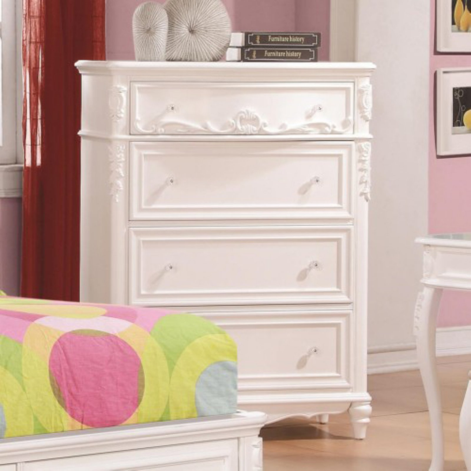 Coaster Company Caroline 4 Drawer Chest, White