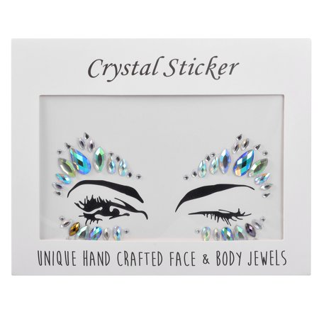 Lux Accessories Faux Rhinestone Festival Carnival Body Face Eye Sticker Jewels 2