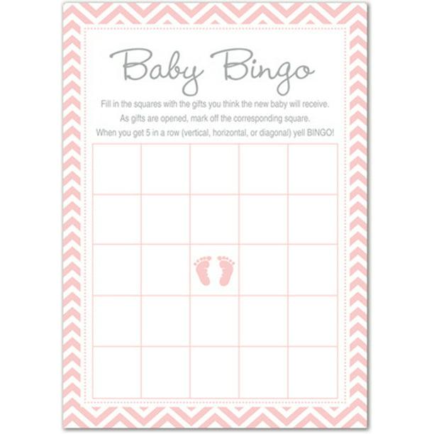 Pink Baby Feet Baby Shower Game Bingo Cards 24 Count Walmart Com Walmart Com