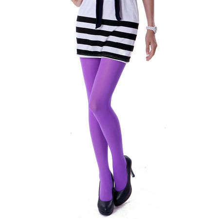 HDE Women's Solid Gradient Color Stockings Opaque Microfiber Footed Tights (Purple)