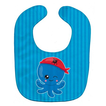 Caroline's Treasures Baby Bib, Pirate Octopus, Blue Stripe