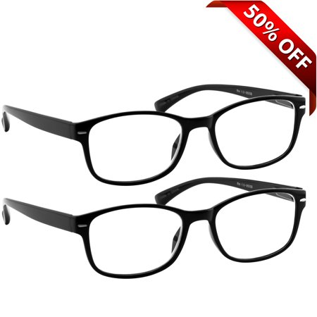 Reading Glasses 1.50| Best 2-Pack of Black Readers for Men and Women | 180 Day Guarantee (Crystal Readers Reading Glasses)