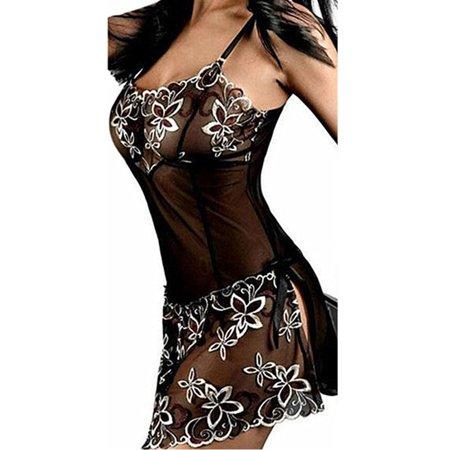 Women Sexy Lace Mini Dress Sleepwear Black Babydoll Nightwear G-string