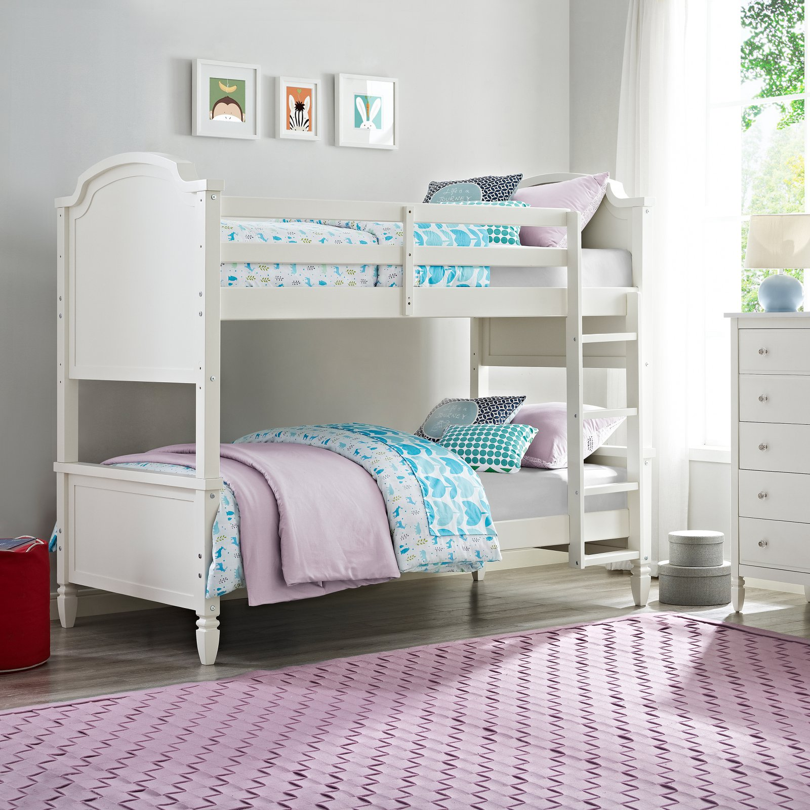 Dorel Living Vivienne Twin over Twin Bunk Bed - White