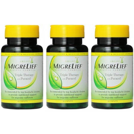 - 3 Pack Migrelief Original Formula Triple Therapy with Puracol 60 Caplets Ea =180